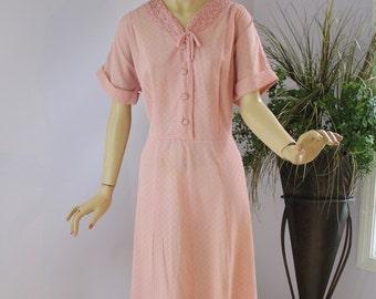 Vintage 40s Dinner Dress Pink Sheer Dress w Soutache Ribbon Trim & Rhinestones