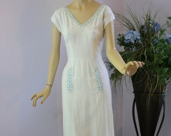 Vintage 50s Dress Jerry Gilden Spectator White linen w Blue trim Faux Pearls Rhinstones