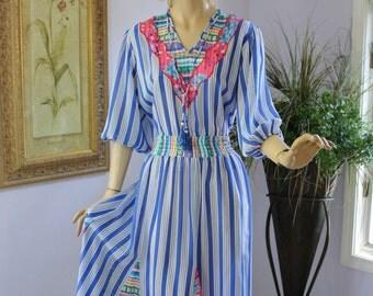 Vintage 80s Diane Freis Dress Blue White Stripe Pink Floral Print Sheer Georgette Full Skirt