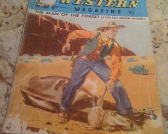 Rare Vintage 1940's Western Zane Greys Magazine Dell Digest 40s Amazing Cover Art On The Back by Dan Muller