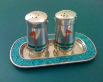 Mid Century ALPACO Silver and Turquoise Salt & Pepper Shakers Set/ Tray Vintage 1950s Mexico