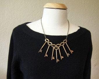 Dramatic Antique Key Necklace