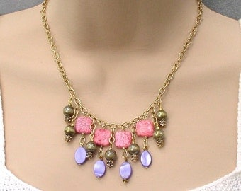 Necklace Beaded Bohemian Gypsy Metal and Stones Purple Pink Olive Green Chain Stone Cat's Eye