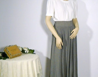 Vintage Dress Secretary Dress School Marm Dress  80's Grey White Medium