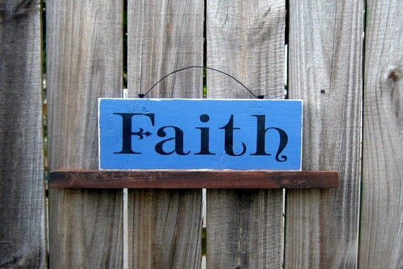 Faith Sign, Painted Wood, Inspirational, Faith, Hand Painted, Wall Decor, Blue, Black Lettering