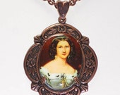 Woman in Green Portrait Cameo Necklace in Copper  INVENTORY CLEARANCE!  75% OFF!