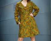 green brocade mod duster coat- l