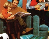 Vintage postcard Happy Family Reading, Playing Zither circa 1970s cool retro fashion mom dad children in den, a fun card - Free USA shipping