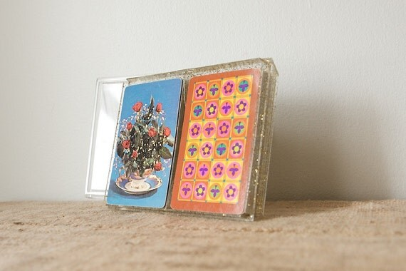 CLEARANCE Plastic Coated Floral Playing Cards by Stancraft, Double Deck