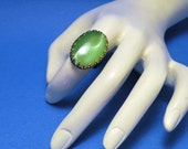 Womens Ring Bright Green Snake Eye Stone Ornate Handmade Cocktail Gothic Victorian Style Adjustable Finger Ring Size 6 to 8