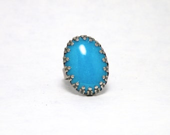 Brilliant Blue Jade Stone Cabochon Gothic Victorian Style Adjustable Finger Ring