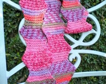 Scarf Pink Purple Stripe Diamond Hand Knit