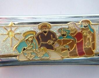 Authentic Casa D Oro - Nativity Scene with the Three Wisemen Charm - Italian Charm 18mm Link