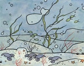 Lobsters and Whale Watercolor Cartoon Print 5x7