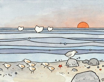 Sandpipers & Whales - Seashore Illustration Print 5x7