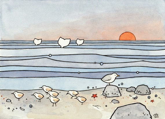 Beach illustration sandpipers and whales 8x10 print