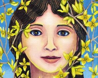 The Fair Forsythia ORIGINAL PAINTING oil yellow flower woman Spring flowering branches lovely fine art gift for gardener - Free USA shipping