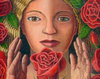 Keeper of the Red Rose ORIGINAL PAINTING oil on linen fine art flower rosebud spirit woman Unique and Unusual Floral Gift - Free US shipping