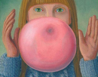Girl with Gum ORIGINAL PAINTING oil on canvas 12x9 blowing big pink bubblegum bubble about to pop Unique Gift - Free U.S. shipping