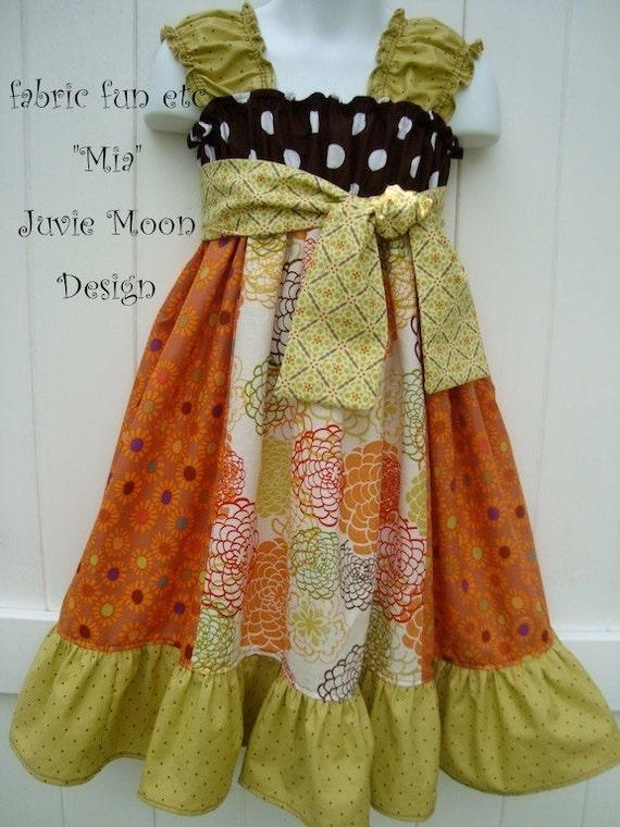 Mixed Fabric Twirl Dress Girls Boutique Custom Juvie Moon Designs PDF Download Pattern Mia