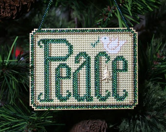 Peace Cross Stitched and Beaded Christmas Holiday Christmas Tree Ornament - Free U.S. Shipping