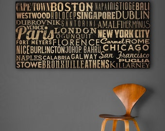 Custom - MADE To ORDER Typographic Wall Art Gallery Wrapped Canvas SIGNED 20X40x1.5 inches Wedding Anniversary Gift