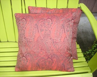 PILLOW SALE--Pillow Covers in Deep Red Paisley Print with Swirls of Orange and Grey, Sold as a Pair