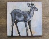 contemporary art: blue fawn. original painting