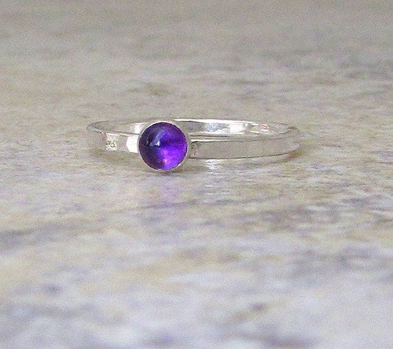 Amethyst Ring Silver Stacking Ring Birthstone Ring Mothers Ring February Birthstone