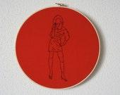 Alexis -- pinup, erotica, kitsch, feminist, original art, embroidery art, hand-stitched  -- 100 Ladies #079