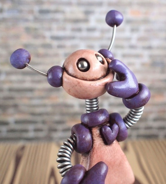 Mini Robot Sculpture Purple Pat Grungy Bot - Clay, Paint, Wire