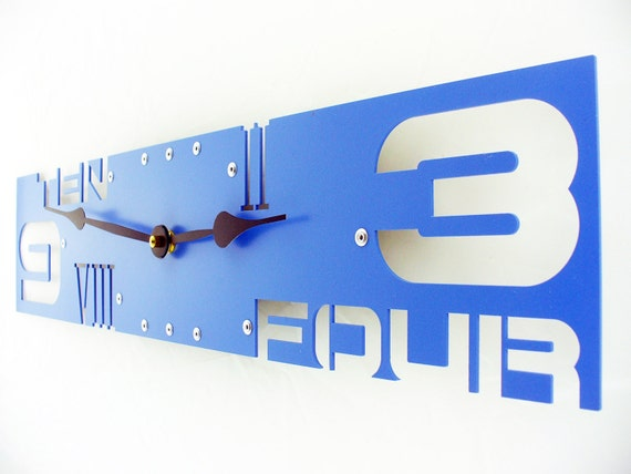 Outnumbered IV Modern Wall Clock (Wildflower Blue) Custom Colors Available