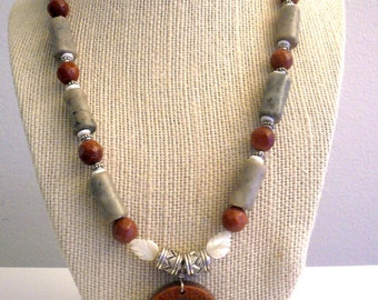 New listing... GlamRox Beautiful Native American Style Sparkling Sandstone & Jasper Necklace.Perfect Jewelry Gift. Gift for her. ETSY Gift