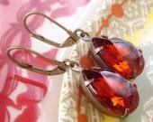 FSU Florida State University Seminoles Garnet Topaz Rhinestone Earrings Retro Autumn Bridal Bridesmaids