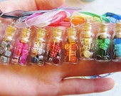 Miniature Dice and Poker Chips Necklace - Rainbow Colors - Glass Jar Necklace with Gift Bag - Your Choice of Colors