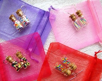 Littlest Candy Shop Earrings- Choose any flavor or style - Miniature Candy in Tiny Glass Bottles