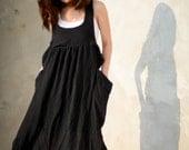 Overall Jumper Black Dress, Long dress, Long black Dress, Black Dress, Casual Dress, Jumper Dress