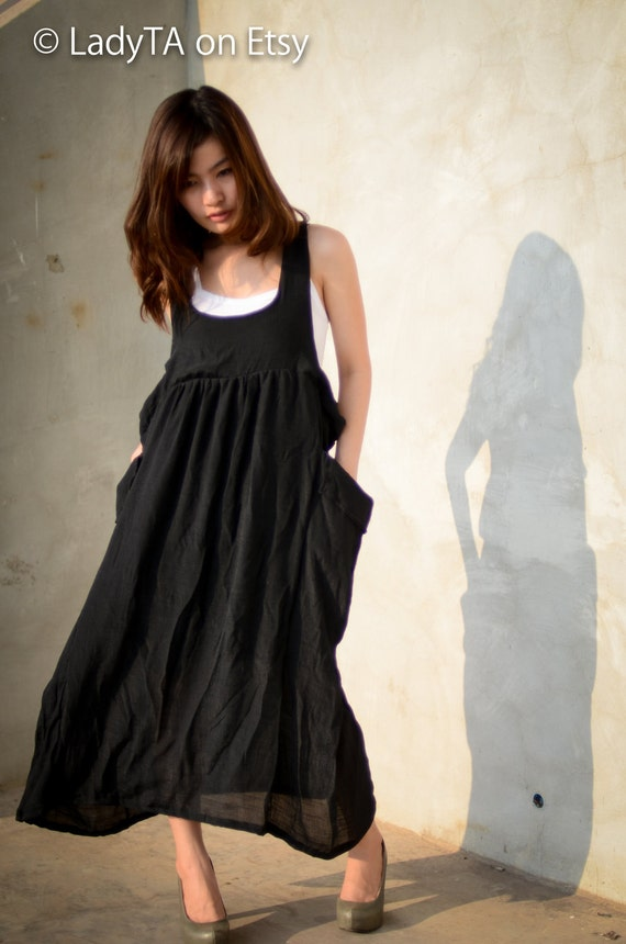 Items similar to Overall Jumper Black Dress Long dress Long black Dress Black Dress Casual ...