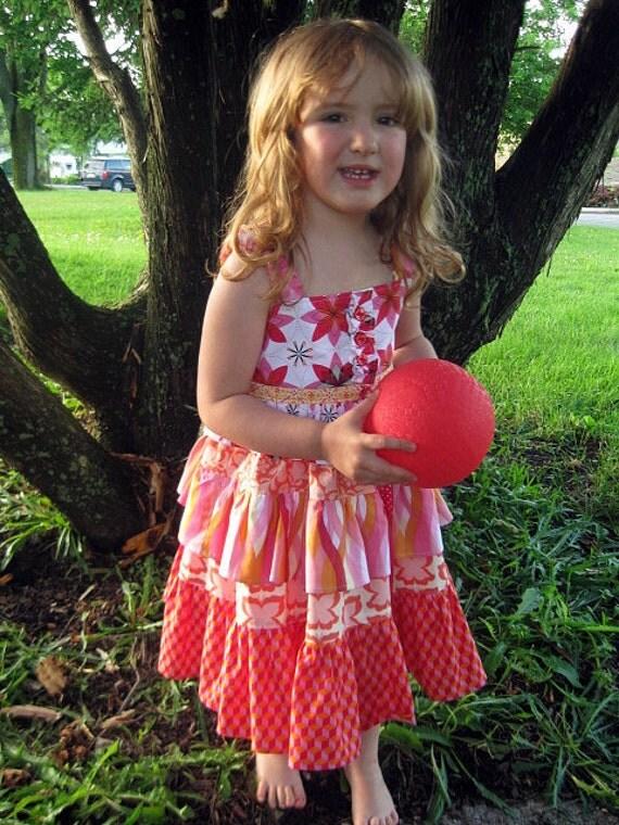 Girls Ruffle Dress,  Toddler Dress, Children Clothing, Girl Dresses, Girl Clothing, child, toddler, red, pink dress, Size 2T 3T 4T 5 6 7 8