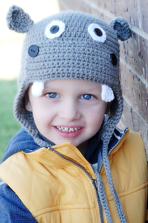 Hippo Earflap Crochet Hat Pattern *Instant Download* (Permission to sell all finished products)