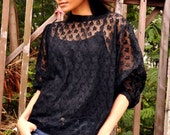 Black Lace Top Sheer Shirt Long Sleeve See Through Blouse Petite Etsy Gift Fall Summer Fashion