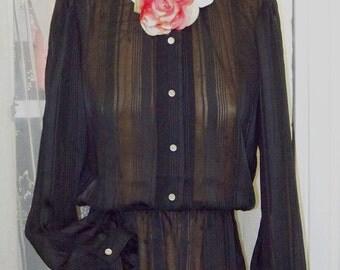 parisian style 70s black sheer stripe shirtwaist dress