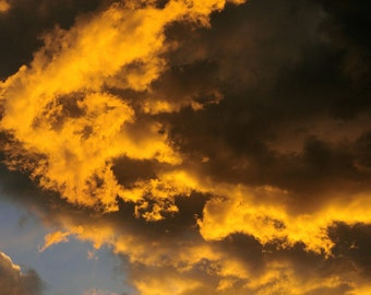 Sky Fiery Clouds Flaming Golden Flame Sunset Fire Dramatic Light Sky Cabin Lodge Photograph