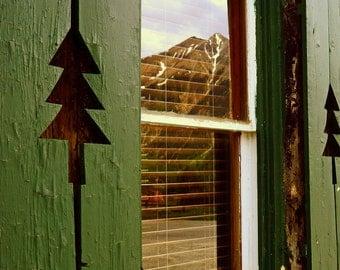 Mountain Reflection Colorado Twin Peaks Pine Green Window Old Colorado Inn Rustic Cabin Lodge Photograph