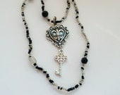 Necklace - Crystal Black Beads - Heart - Key - Long - Clear Glass Beads - Black - Fleur de Lis - Steampunk Style - Recycled - Eco Friendly