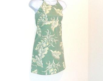 Sundress - Mini Dress - Hawaiian Print - Floral - Sage Green - Size Small -Cotton - Botanical - Surfer - Recycled - Beach - Retro - Redhead