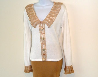 White - Sweater - Lace Trim - French Crochet - Jumper - Angora - Hand Made - Pullover - Embellished - Fuzzy - UNIQUE - OOAK - Recycled