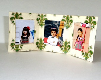 Triple Photo Frame - Florentine Paper - French - Fleur de lis - Travel Desktop - Hand Made - Green and Cream - UNIQUE - Gift - HOPE