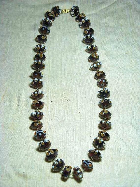 Lampwork Venetian Glass Long Vintage Necklace (N-2-3)