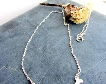 Animal bone sterling silver necklace, Halloween jewelry, skull, skeleton, bones